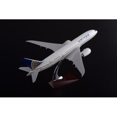 浩东汇厂家直销B787波音美联合航空47CM  树脂飞机模型