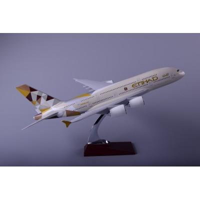 汕头厂家自产自销空客A380阿提哈德航空树脂飞机模型45cm